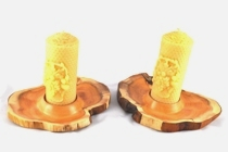 Yew candle holders