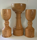 Hand turned wooden trophy cups