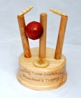 Turned wooden cricket trophy